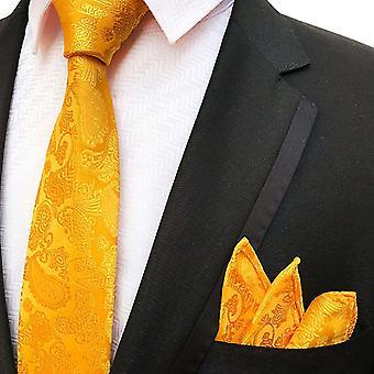 Oranssi paisley solmio & tasku neliösetti