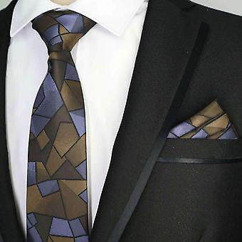 Фиолетовый & Браун узорной дизайнер карман площадь & галстук