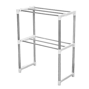 2 Layers Microwave Oven Stainless Steel Rack Kitchen Storage Shelf