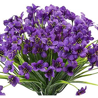 10 Bundles Artificial Flowers Outdoor Uv Resistant No Fade Fake Purple Flowers (red)