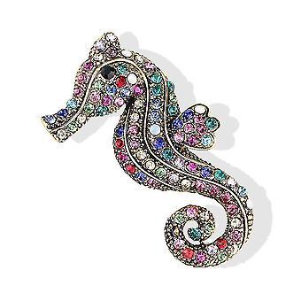 Retro Ladies Brooch Seahorse Corsage Rhinestone Inlaid Brooch Pin