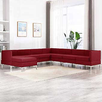 vidaXL 8 pcs. Sofa set fabric wine red