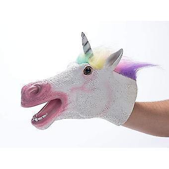 Tier Handpuppe Spielzeug Weiches Latex Gummi Realistischer Einhorn Kopf