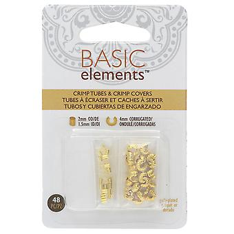 Basic Elements Crimp Tube Beads & Corrugated Crimp Covers, 2x2mm and 4mm, 48 Pieces, Gold Plated