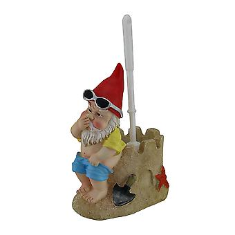 Beach Gnome On Sandcastle Throne Toilet Brush and Holder Set