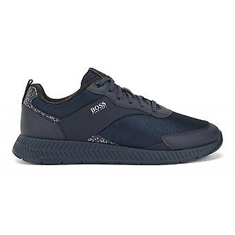 Hugo Boss Footwear Hugo Boss Men's Titanium Runn Pxpr Navy Trainers With Pixel Detail
