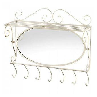 Accent Plus Scrolled Iron Wall Shelf with Hooks and Mirror, Pack of 1
