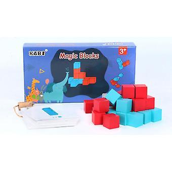 ילדים מונטסורי צעצוע עץ 3D פאזל פיות קוביות חשיבה מרחבית לימוד צעצוע עץ