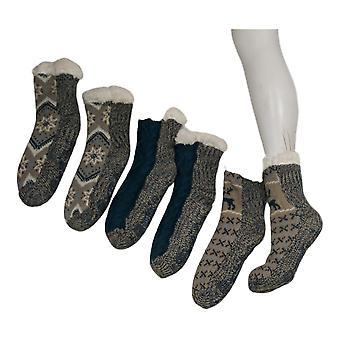 Muk Luks Women's 3 Pack Printed Cabin Sox Blue Socks 673629