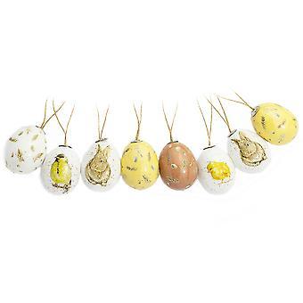 8 Pack 5cm Akwarelowy Królik i Pisklę Plastikowe Wiszące Jajka na Drzewa Wielkanocne