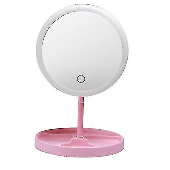 Mirrors usb charging three variable led light color hair desktop makeup mirror folded belt is lamp