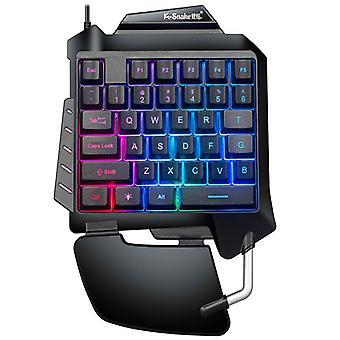 Tastatură pentru jocuri cu o singură mână Rgb Led Backlit Portabil Mini Keypad pentru Lol / pubg / wow / dota / ow / fps Joc