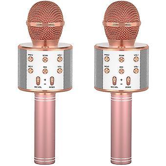 Dva bezdrátové mikrofony pro děti Karaoke, Bluetooth kapesní mikrofony, dětské dárky pro narozeninové oslavy (2 růžové)