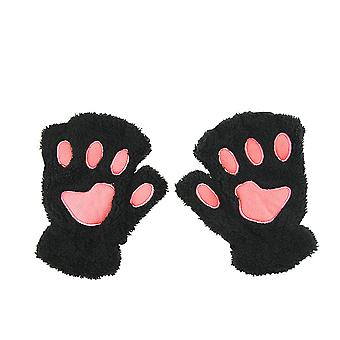 Cute Cat Kitten Paw Fingerless Faux Fur Plush Gloves For Girls Women