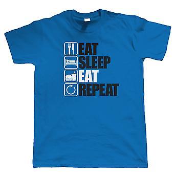 Spis Sleep Spis Gentag, Herre Grådigmad T shirt, Gave far Ham
