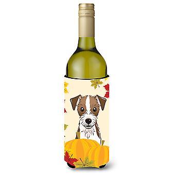 Jack Russell Terrier Thanksgiving vinho garrafa bebida isolador Hugger