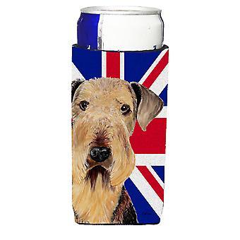 Airedale mit englischen Union Jack britische Flagge Ultra Getränke Isolatoren für schlanke