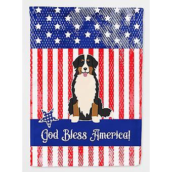 Patriotic USA Bernese Mountain Dog Flag Garden Size