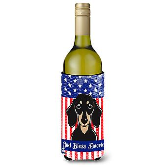 Smooth Black and Tan Dachshund Wine Bottle beverage Insulator Hugger