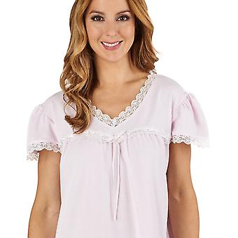 Slenderella ND1115 Women's Jacquard Pink Night Gown Loungewear Capped Sleeve Nightdress