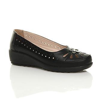 Ajvani naisten alhainen puolivälissä kiila leikattu kukka luistaa ballerina comfort kengät