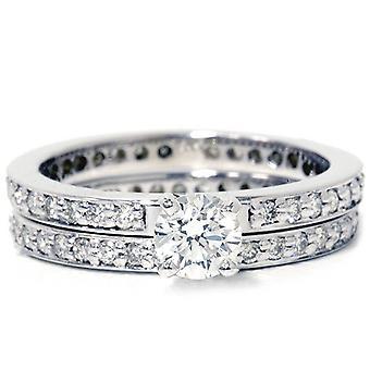 Diamond Engagement Wedding Ring Set 14K White Gold Pave Thin Diamond Band 1 1/5