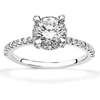 1ct de oro blanco anillo de compromiso 14K Halo