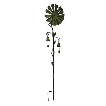 Metal Windmill Garden Twirler Wind Spinner Stake with Chimes