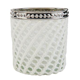 Clayre & EEF of romantic tea light holder glass and wool country house Ø 8 x 9 cm