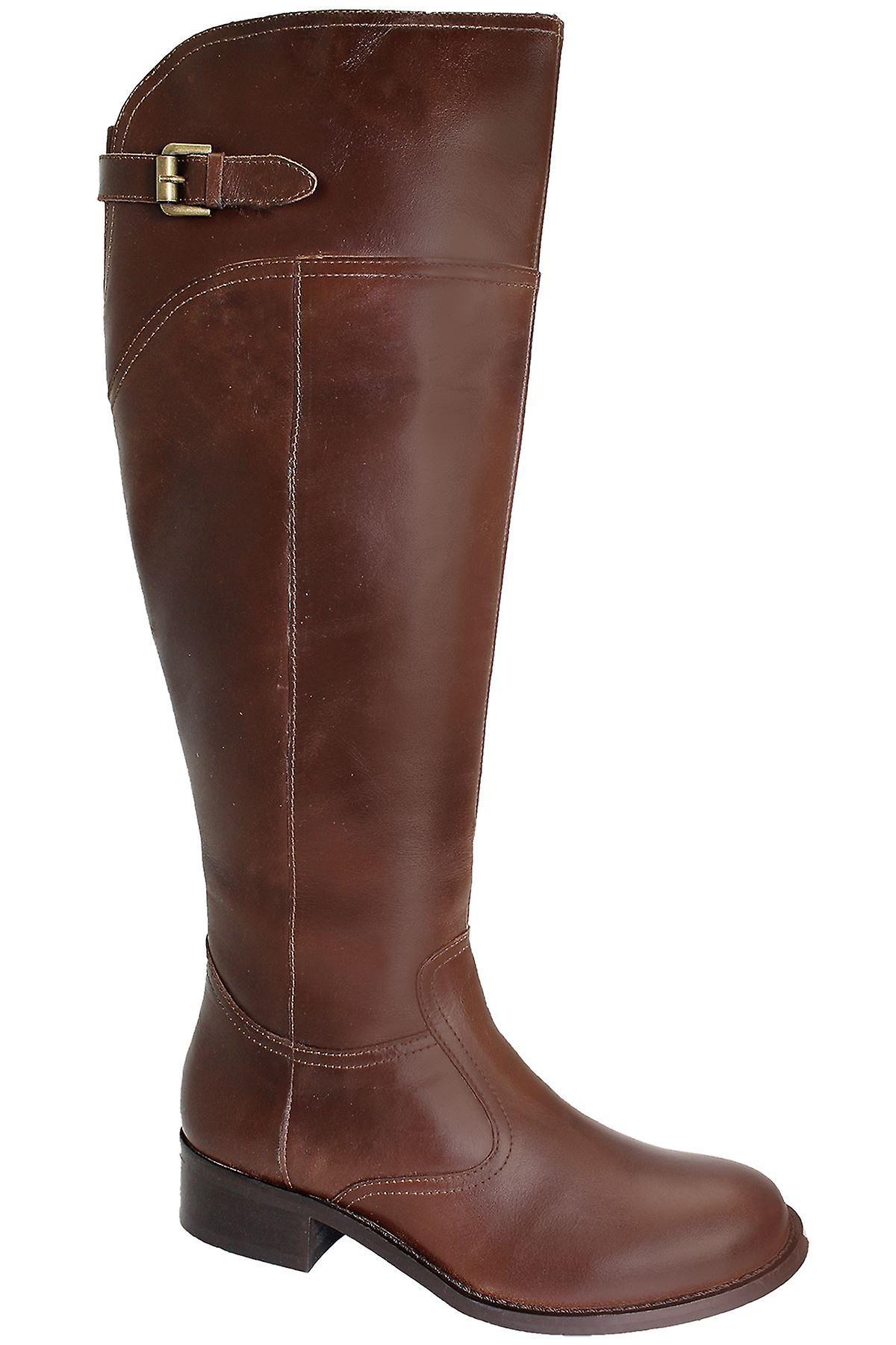 Hyvät polvisukat aitoa nahkaa naisten pieni kantapää Ratsastus tyyli kengät