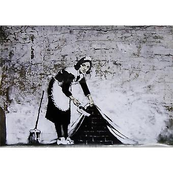 Banksy Poster Graffiti Sweeping Under Wall  Kleinformat