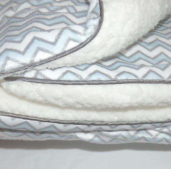Blue and White Zig Zag  Mink Sherpa Fleece Lined Baby Blanket