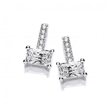 Cavendish French Silver & Emerald Cut Cubic Zirconia Earrings