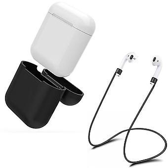 Airpod سيليكون القضية + سماعة الرأس الأشرطة واليد كسر حزام التفاح الأسود