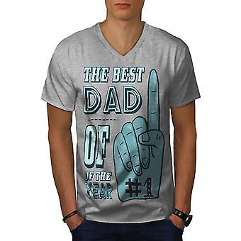 Bester Papa Geschenk Männer GreyV-Neck T-shirt | Wellcoda