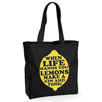 When Life Hands you Lemons Make a Gin and Tonic Black Cotton Shopping Bag