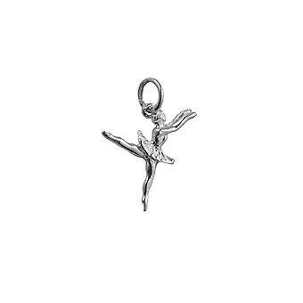 Silver 20x15mm Ballet Dancer Pendant or Charm