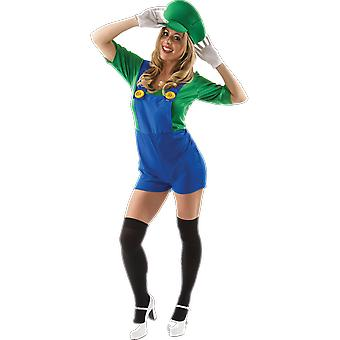Orion Costumes Womens Super Mario Luigi Novelty 80s Retro Video Game Fancy Dress
