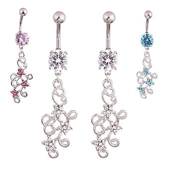 Navelpiercing Diamond Flowers
