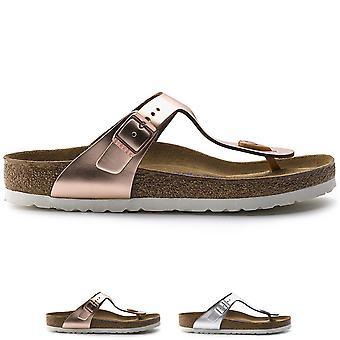 Womens Birkenstock Gizeh Soft Foot Bed Metallic Fashion Toe Post Sandals