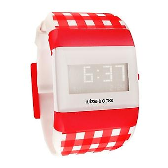 Wize and Ope Postal  White and Red Digital  Watch WO-OP-1