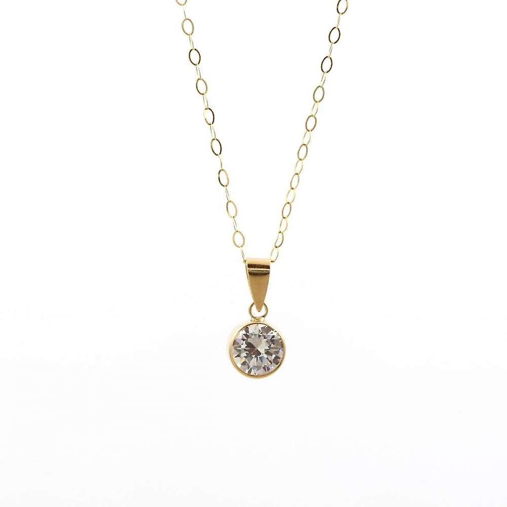 Eternity 9ct Gold Cubic Zirconia Pendant And 16'' Trace Chain