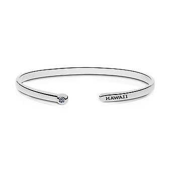 University Of Hawaii Engraved Sterling Silver White Sapphire Cuff Bracelet