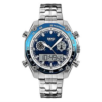 SKMEI Blue Mens Dual Time Digital And Analogue Watch With Stainless Steel Strap AD1204