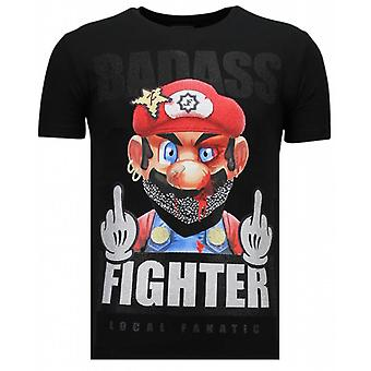 Fight Club Mario-rhinestone T-shirt-svart