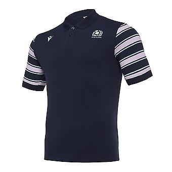 2019-2020 اسكتلندا ماكرون الرجبي الترفيه شريط بولو قميص (البحرية)