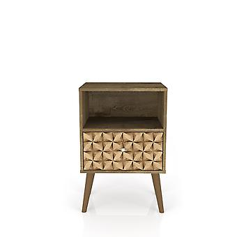 Manhattan comfort  liberty mid century - modern nightstand 1.0 with 1 cubby space and 1 drawer in rustic brown and 3d brown prints