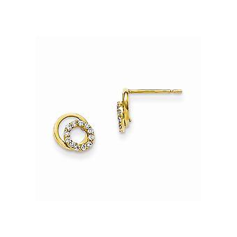 14k Yellow Gold Madi K Cubic Zirconia for boys or girls Circle Post Earrings