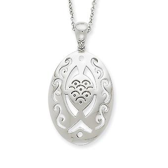 925 Sterling Silver Polished Spring Ring Rhodium finition plaquée Praying and Believing With You 18inch Necklace Bijoux Gi
