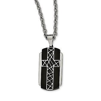 Edelstahl gebürstet und poliert schwarz Ip-beschichtet Kreuz Halskette - 24 Zoll